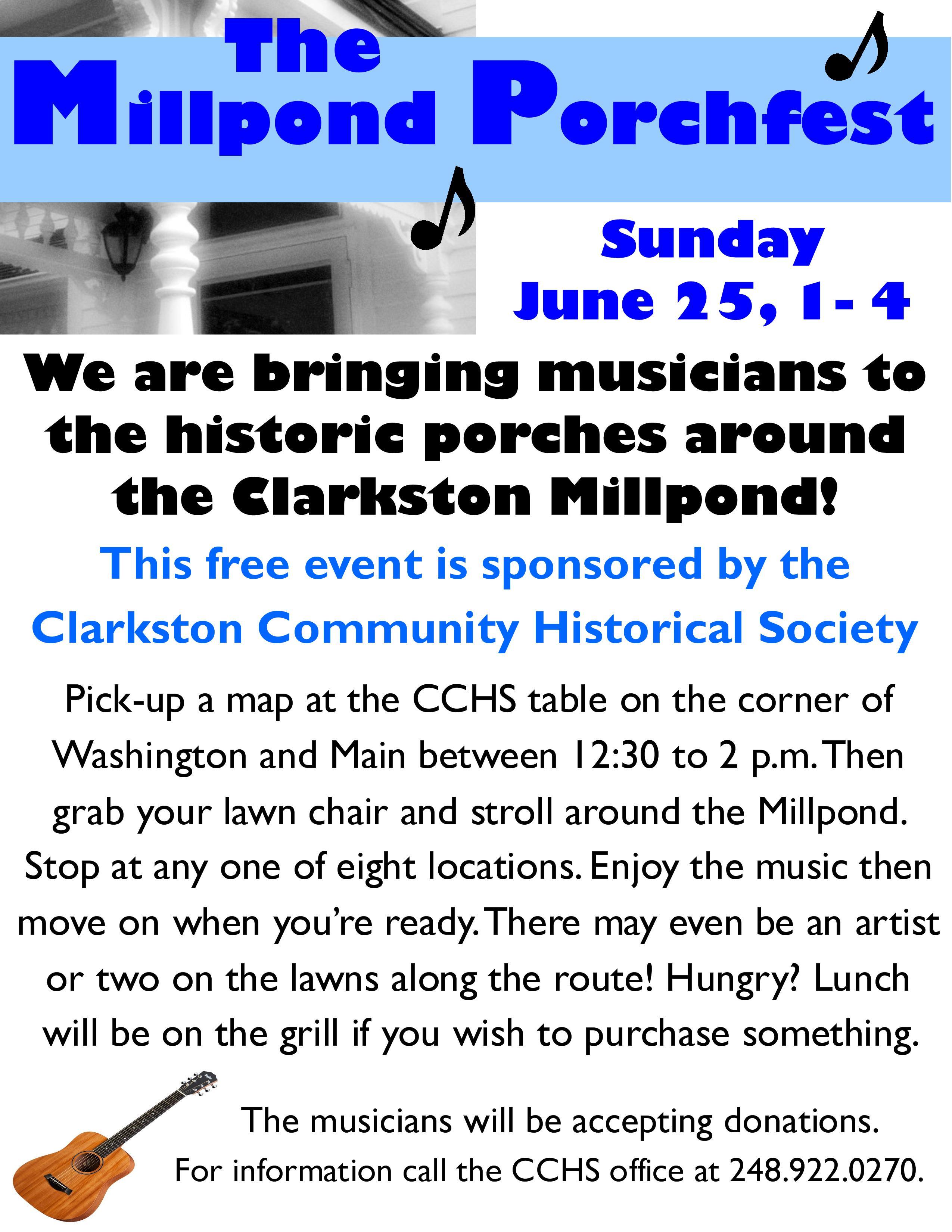 Millpond porchfest flyer Facebook